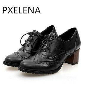 Image 2 - Женские туфли броги PXELENA, винтажные Туфли оксфорды на шнуровке, с массивными блочными вырезами, на каблуке, размера плюс, 2019