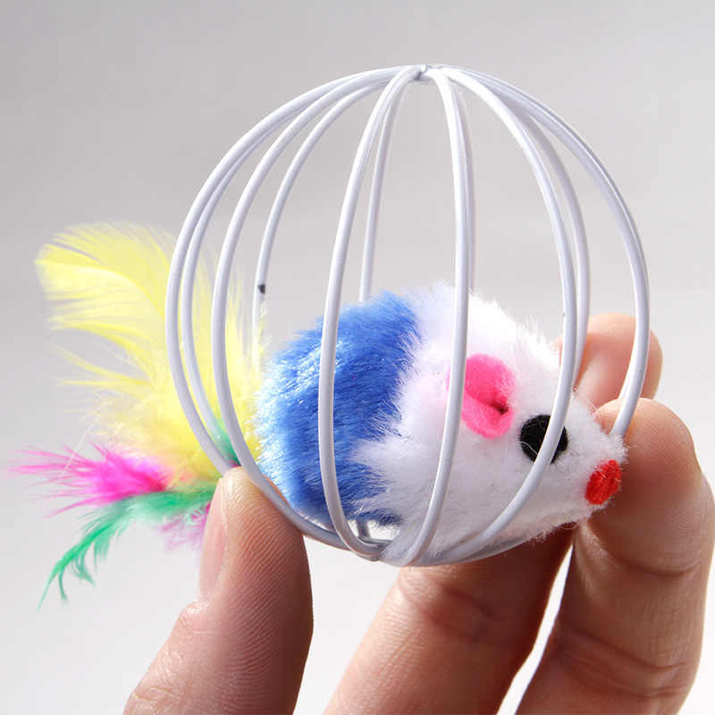 Cat Toy Iron Cage Mouse Feather Plush Mouse Cat Toys Interactive Kitten Playing Funny Mice Mouse Toys for Cats Pet Animals