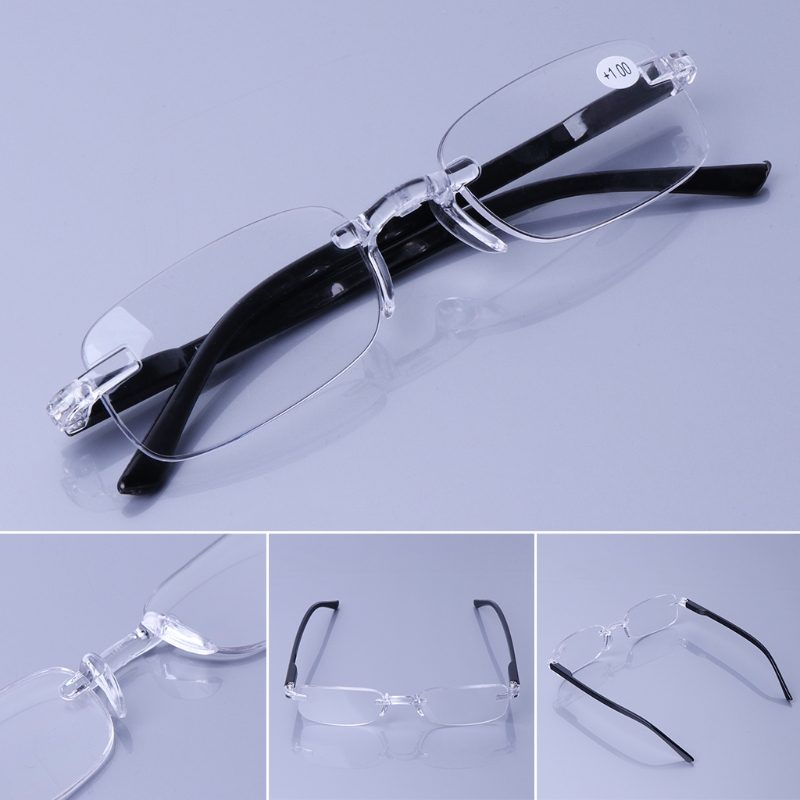 Presbyopic Glasses Spectacles Man Ladies Reading Glasses One Piece Rimless Clear Lens +1.00 to +4.00 1