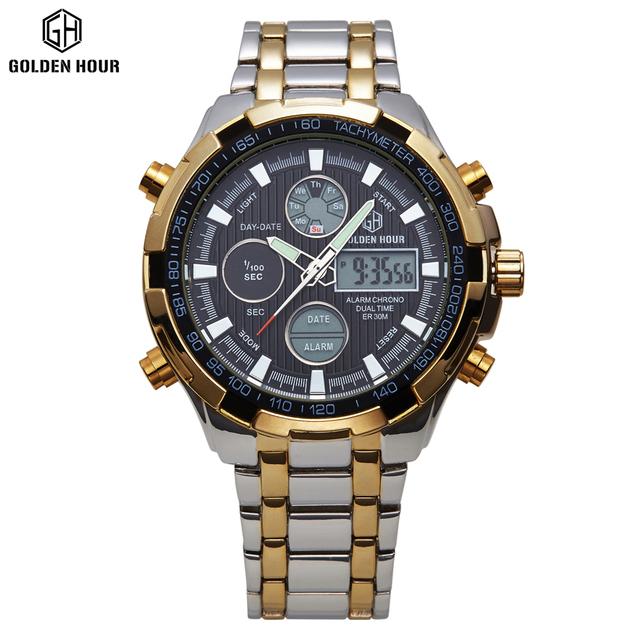 Luxury Brand Analog Digital Watches Men Led Full Steel Male Clock Men Military Wristwatch Quartz Sports Watch Relogio Masculino