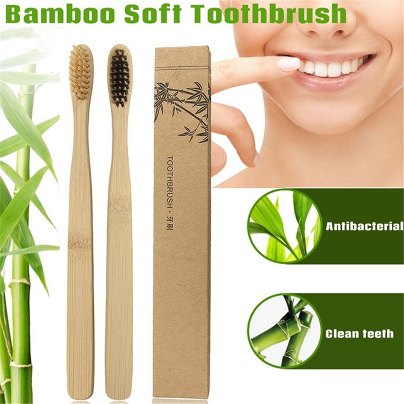 1/2pcs Bamboo Toothbrush Novelty Wood Teeth Brush soft-bristle Bamboo Fibre Wooden Handle Soft Medium Brushes Teeth Protector image