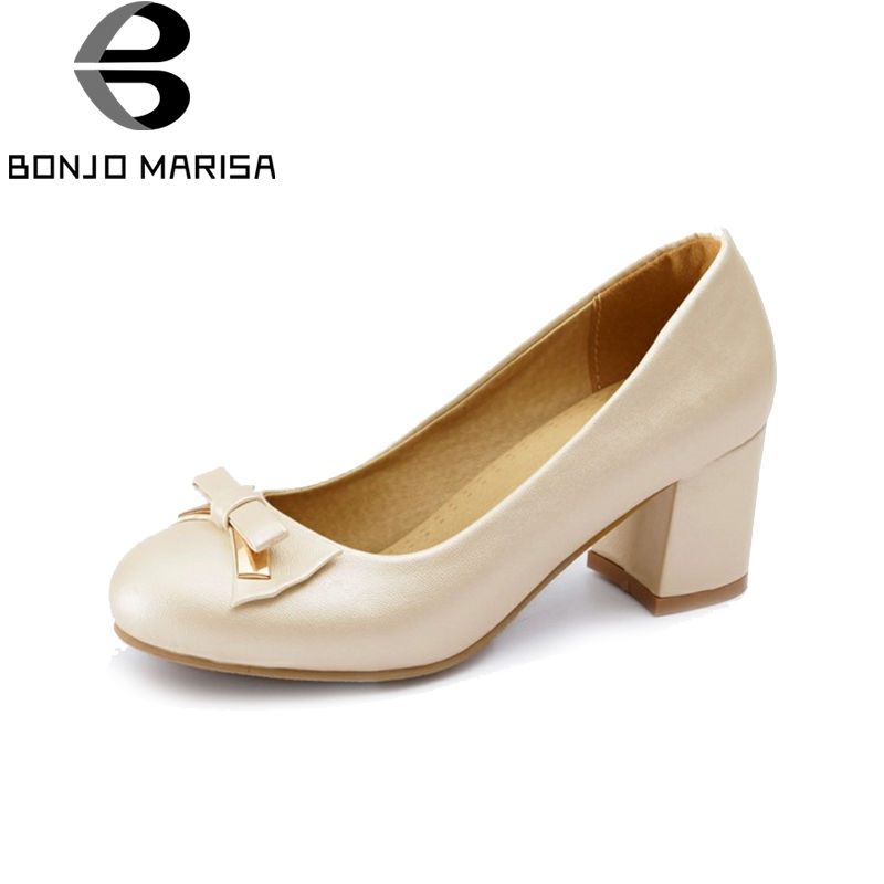 BONJOMARISA 2018 Spring Autumn New Arrival Plus Size 32-47 Women Pumps Fashion Solid Bow Shoes Woman Shallow High Heels Footwear envsoll 2018 new spring plus size