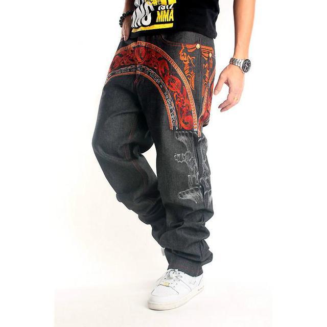 812fa400a8ad 2017 New Designer Embroidery Skateboard Baggy Black Jeans Men Hip Hop Denim  Men's Jeans Fashion Loose