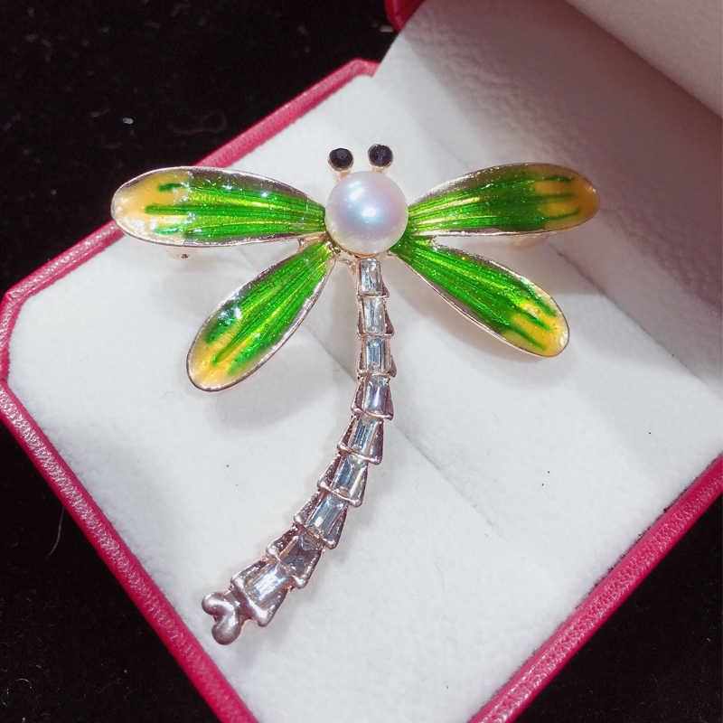 SHDIYAYUN 2019 新しい真珠のブローチトンボのブローチ 3 色のブローチピンナチュラル淡水パールジュエリーの装飾のギフト