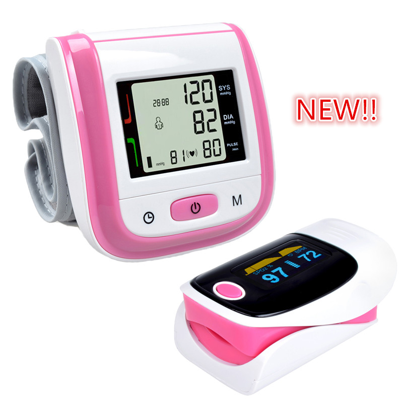 Health Care Pink LCD Digital Wrist Blood Pressure Monitor Tonometer+CE FDA Fingertip Pulse Pink Oximeter Oximetro Alarm Setting high quality ce fda blood glucose meters monitor blood sugar diabetics test glycuresis monitor 50 strips 50 needles