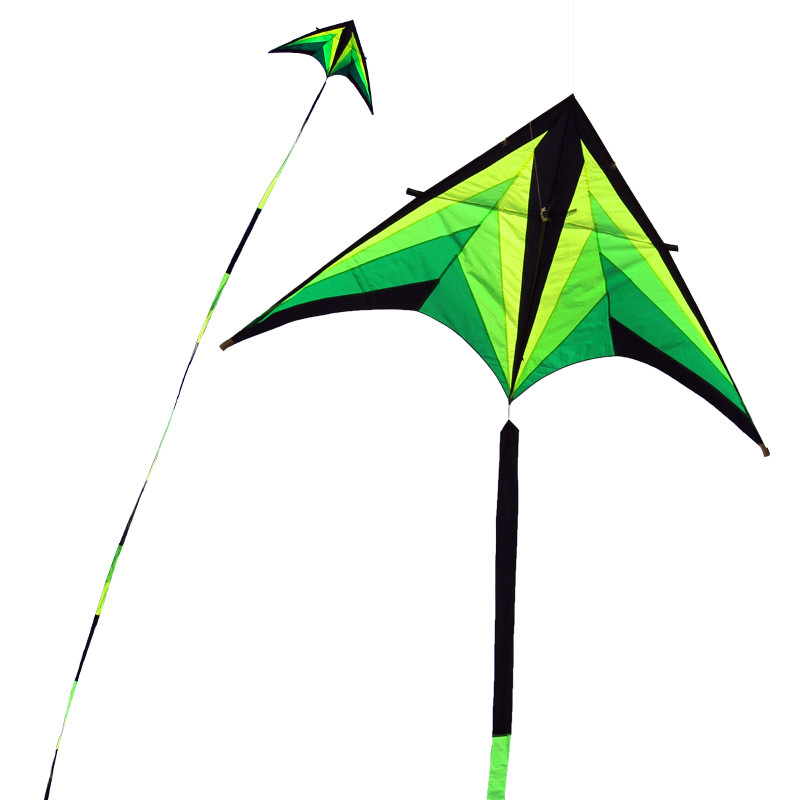NEW ARRIVE OUTDOOR FUN SPORTS 2.8M POWER GREEN BEAUTIFUL DELTA KITE WITH 30M TAIL HANDLE /STRING EASY TO FLY