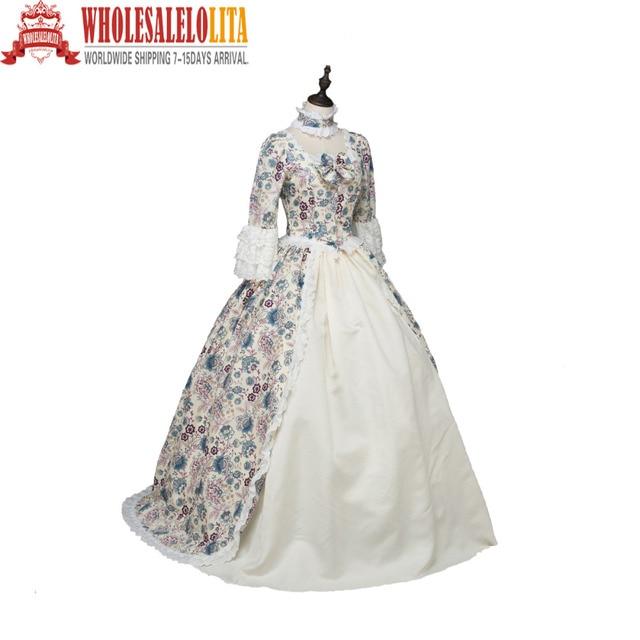 Top Sale Print Marie Antoinette Renaissance Dress Christmas Ball Gown  Reenactment Theatre Party Costumes 833437b37d29