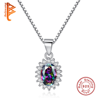 Rainbow Mystic Created Topaz Pendant Necklace Gem Stone Charm Fashion 925 Sterling Silver Necklaces For Women