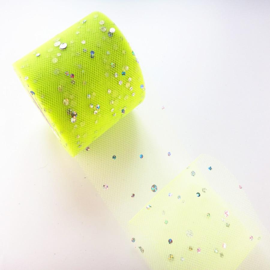 25 ярдов/рулон 6,5 см блеск рулон тюля с блестками Свадебные украшения кружева, тюль, платье-пачка «сделай сам» из органзы Baby Shower вечерние поставки - Цвет: AQ16