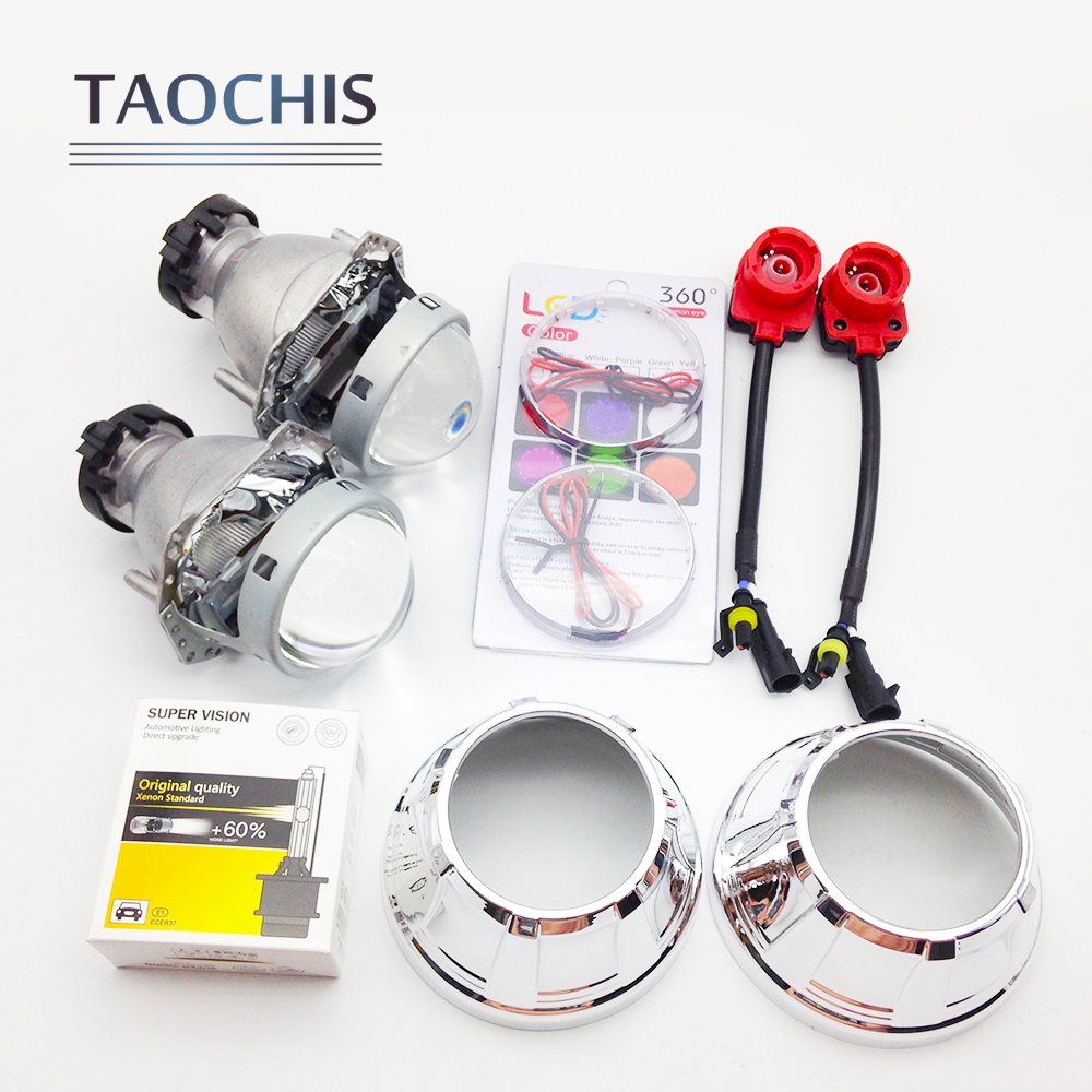 TAOCHIS 3.0 inch Bi-xenon Hella Projector Lens HID D2S Shroud Devil Eyes Head Lamp Upgrade Super Lens Demon eye hot selling 360 degree cob led devil eyes headlights demon eye for 3 0 inch car headlight projector lens ring car styling