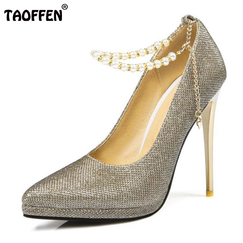 TAOFFEN Women Thin High Heel Shoes Woman Platform Pointed Toe Heels Pumps Ladies Elegant Ankle Strap Wedding Shoes Size 31-45 super high heels ladies sexy elegant platform sandals buckle strap open toe cover heel stilettos thin pumps party wedding shoes