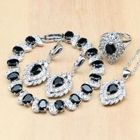 תות שחור לבן CZ זירקון 925 תכשיטי כסף סטי תכשיטים עבור נשים עגילים/תליון/טבעות/צמיד/שרשרת סט