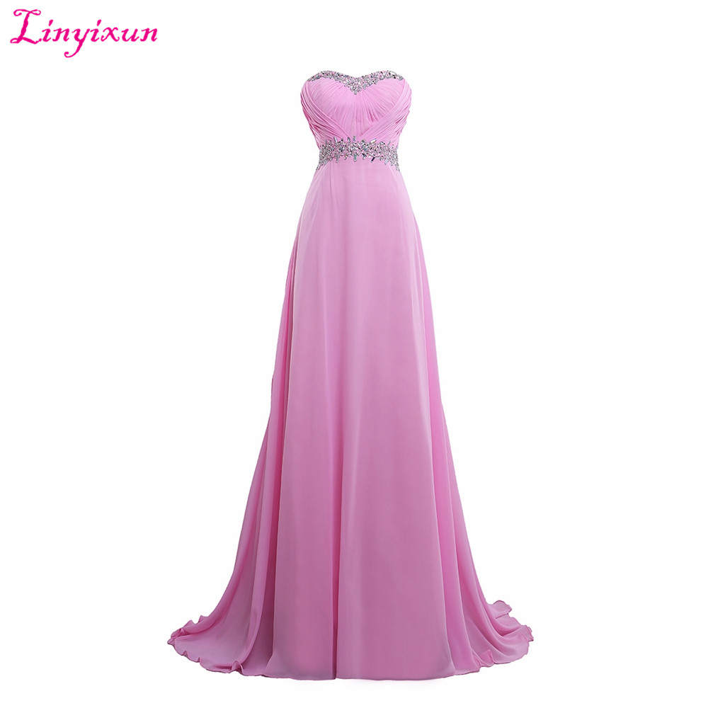 Linyixun Real Photo 2017 Vestidos De Fiesta Long Chiffon Pleats Beaded   Prom     Dresses   Elegant A-line Luxury Strapless Party Gown