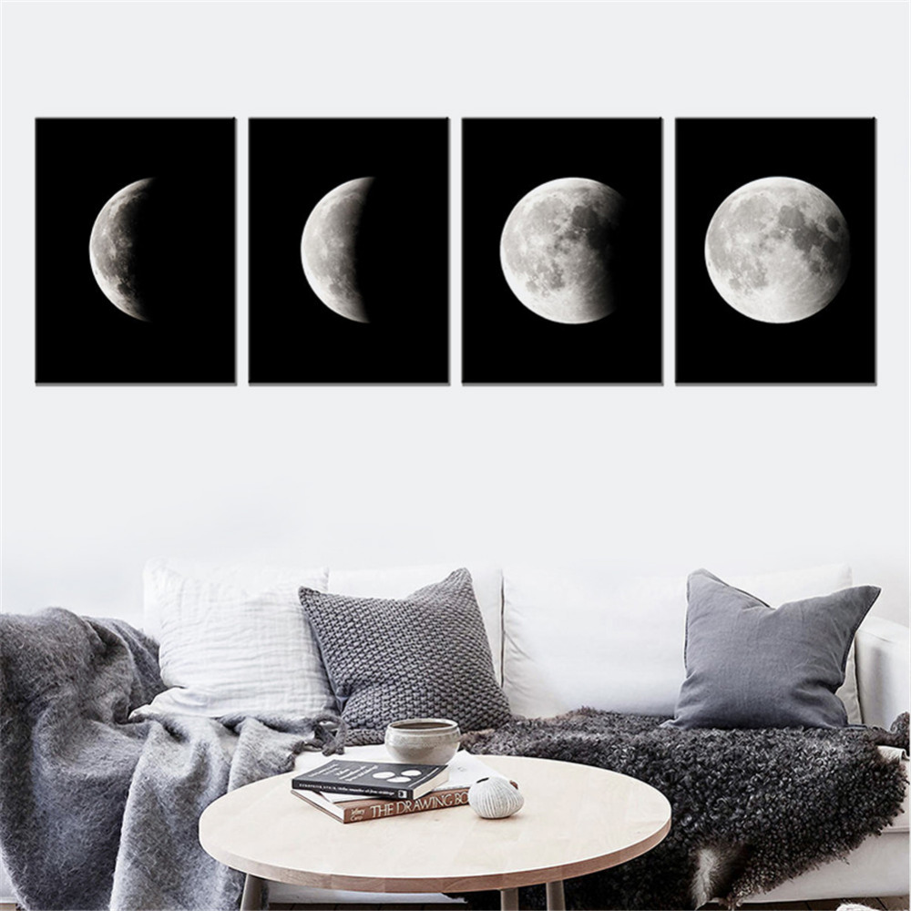 Black And White Canvas Pictures Details About Moon Phase Decor Canvas Painting Black White Art Poster Graphic Wall Picture