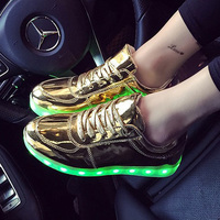 2017 Adult Led Shoes Fashion Glowing Shoes Women With Colorful Luminous Light Up Unisex Flats Gold