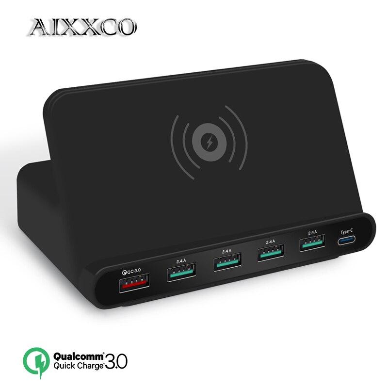 AIXXCO 2 dans 1 charge Rapide 3.0 usb chargeur avec sans fil chargeur station pour iPhone 7 8 Mobile Téléphone Rapide chargeur de charge 5 w QI