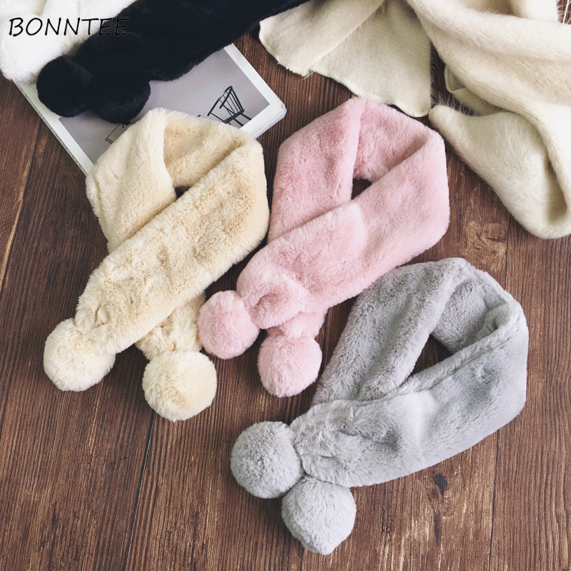 Шарфы Для женщин Сплошной Мода искусственной меховой воротник зимний шарф милые теплые Корейский студент ежедневно простые шарфы Для женщ...
