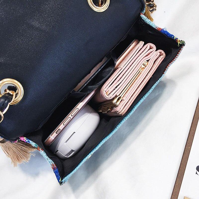 New Women Tassel Fashion Straw Bag INS Popular Female Summer Handbag Chains Lady Casual Shoulder Bag Beach Knit Crossbody SS3307 (9)