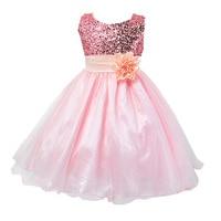 Kids Children Baby Girl Dress Sleeveless Formal Dress Flower Princess Dress Sequines Floral Ball Gown Party