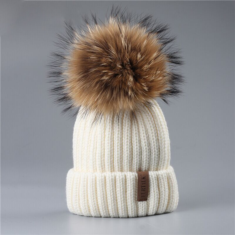 FURTALK Kids Winter Hat Girls Beanie Hat Raccoon Fur Knitted Pompom Hat Children Boys Skullies Beanies Winter Kids Cap Ages 2-10