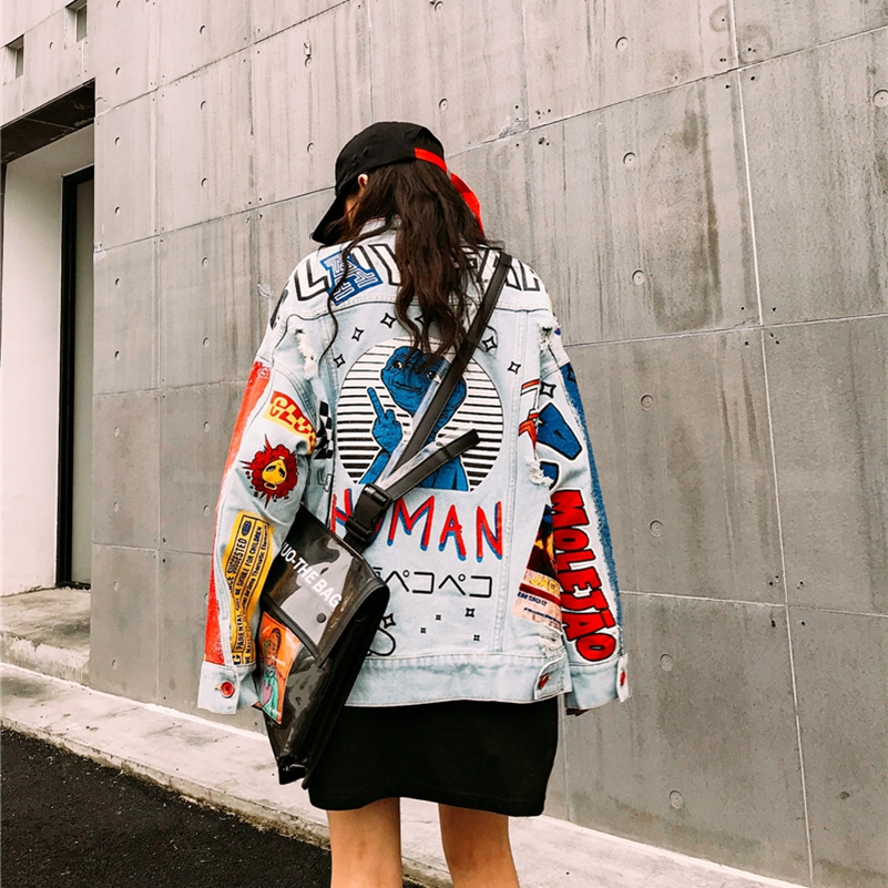 SexeMara fashion The New letter printing Loose Hole Denim jacket free shipping