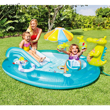 цены Inflatable Cartoon crocodile pool with umbrella shade baby slide toys family water play pool can be ball pit