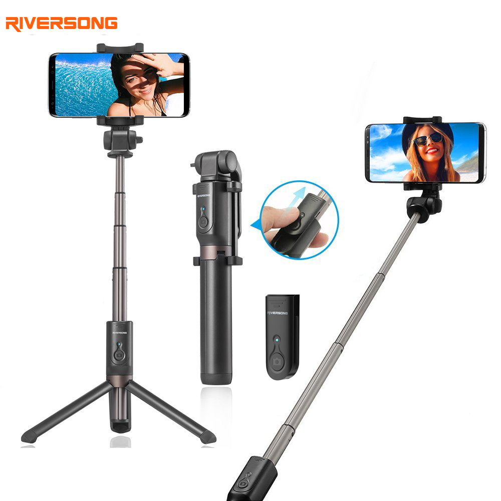Riversong Handheld Mini Tripod Selfie Stick Bluetooth Extendable Phone Monopod for Samsung S8 S7 Xiaomi Bluetooth Remote Shutter atongm mace of queen selfie monopod for smart phone