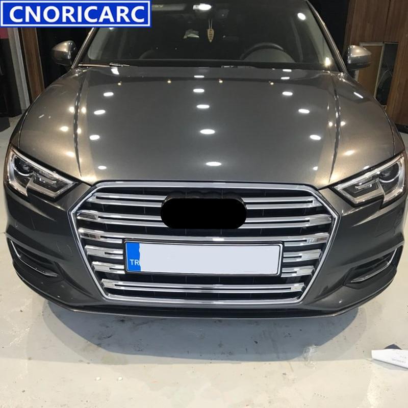 CNORICARC Chrome ABS Car Front Air Grille Trim Strips For 2017 Audi A3 Auto Bumper Decorative