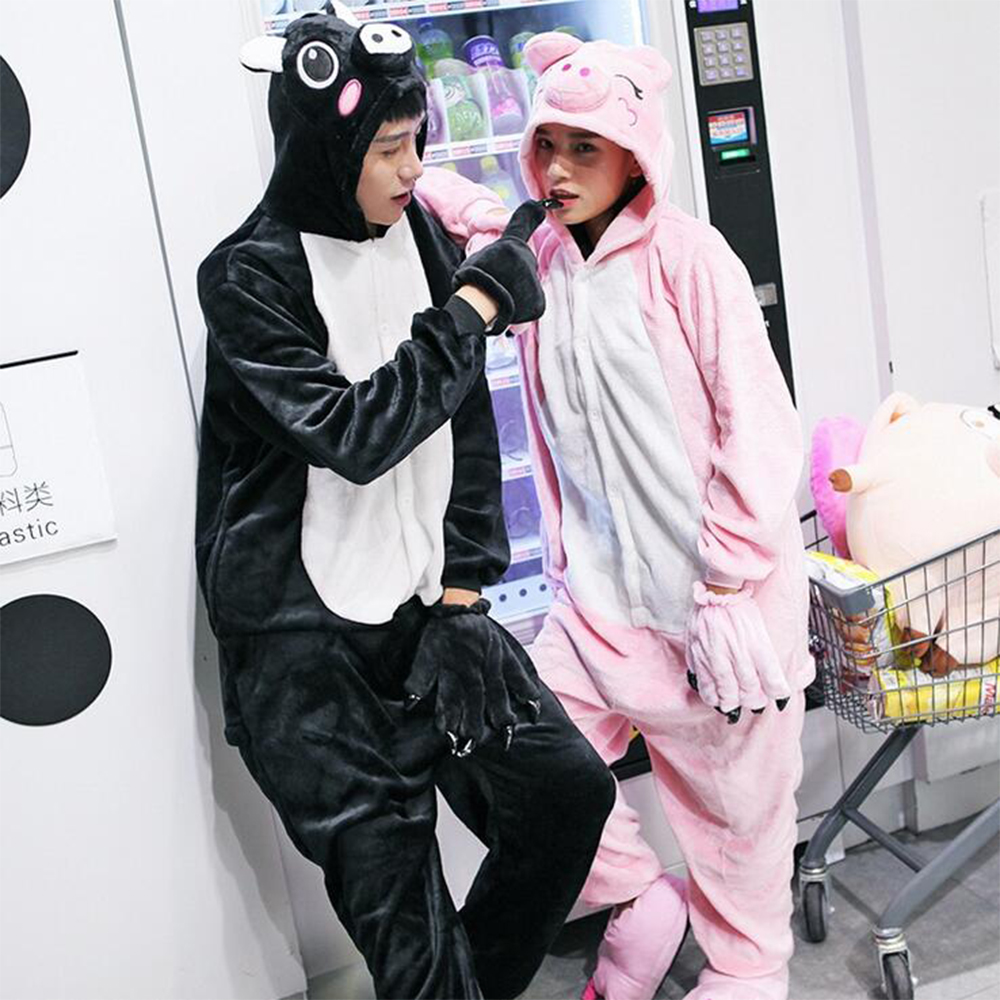 Free ship Christmas Adult Black Pink Pig Onesie Kigurumis Cosplay Footed One Piece Pajamas Onesie Costume Flannel Women Clothing