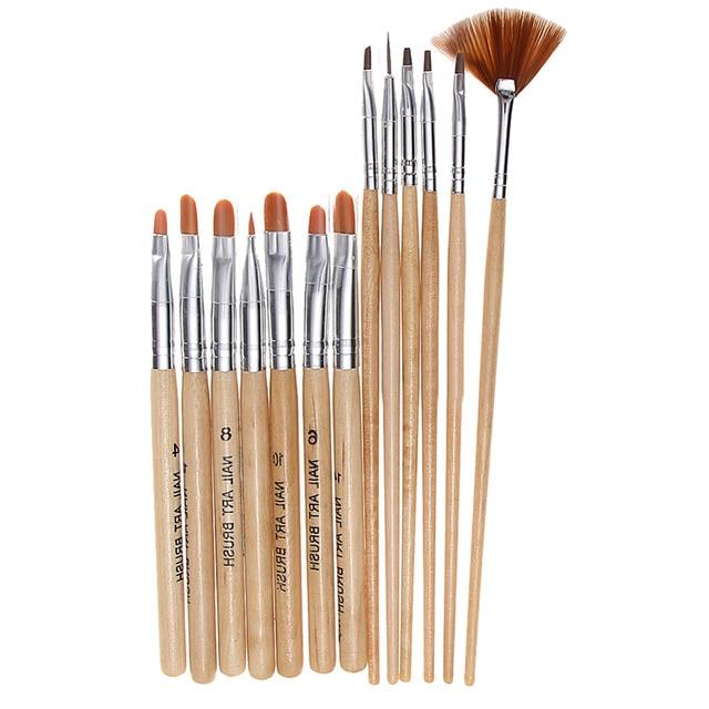 13PCS/Set Wooden UV Gel Polish Builder Extension Nail Art Brush Glitter Rhinestone Sequin 3D Design Flower Drawing Painting Pen