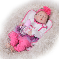 Cute 23' 57 cm Bebe Reborn Girl Full Silicone Body Asleep Mohair Reborn Dolls Lovely Kids Playmates Baby Girl Birthday Gifts