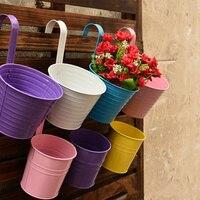 Hot sale 4PCS Garden Decoration Supplies Iron Pastoral Balcony Pots Planters Wall Hanging Metal Bucket Flower Holder.