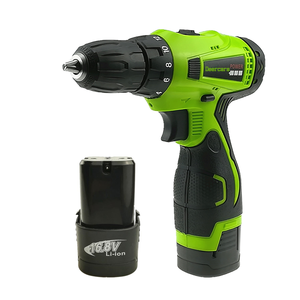 16.8V Household Double Speed Cordless Drill Electric Screwdriver Rechargeable Power Tools Two Lithium Battery Carton lanneret 18v lithium ion battery 2 speed cordless drill electric screwdriver household rechargeable drill tools