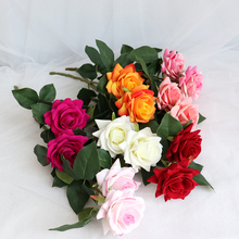 2 Head Artificial Rose Flowers Branch Wedding Bouquet Bride Holding Home Easter Decoration Plants Party Decor