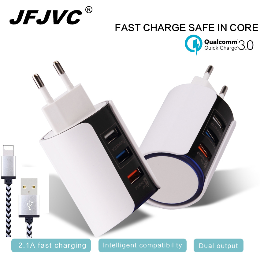 EU/US/UK Plug Universal Fast USB Charger QC 3.0 Mobile Phone Adapter Quick With Cable For iPhone 8 Samsung S8 Huawei Tablet