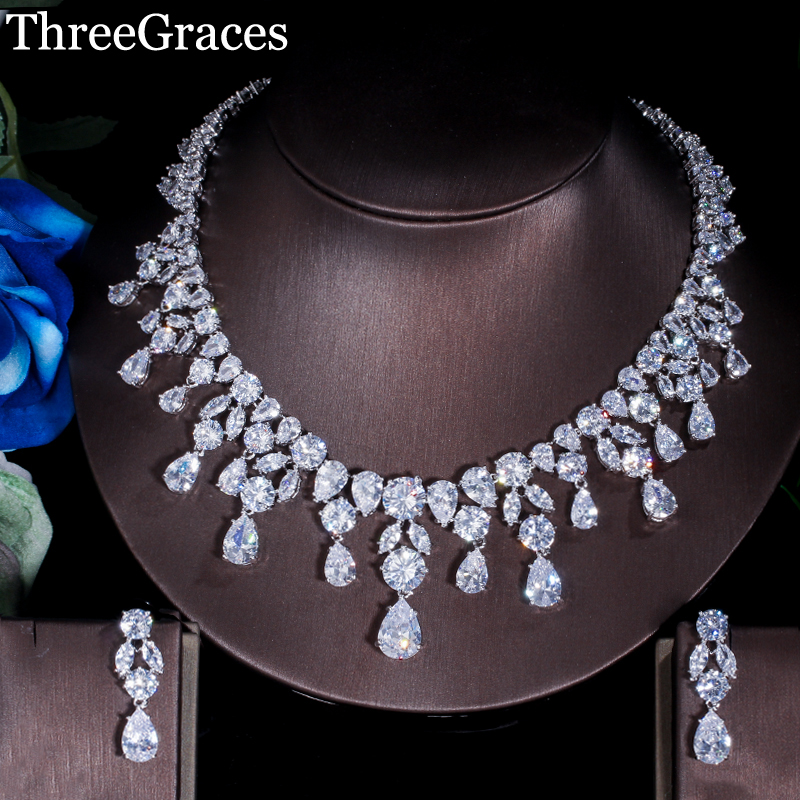 ThreeGraces Nigerian Bridal Jewelry White Gold Color Cubic Zirconia Large Wedding Necklace And Earrings Sets For Brides JS020ThreeGraces Nigerian Bridal Jewelry White Gold Color Cubic Zirconia Large Wedding Necklace And Earrings Sets For Brides JS020