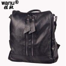 Wanu Мода натуральной студент мешок школы корейский Колледж рюкзак девушки Повседневное из овечьей кожи Для женщин сумка Винтаж Сумки