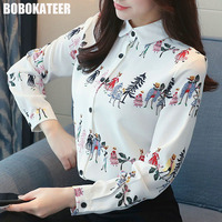 BOBOKATEER White Print Office Shirt Chiffon Blouse Women Blouses Ladies Long Sleeve Blusas Womens Tops And