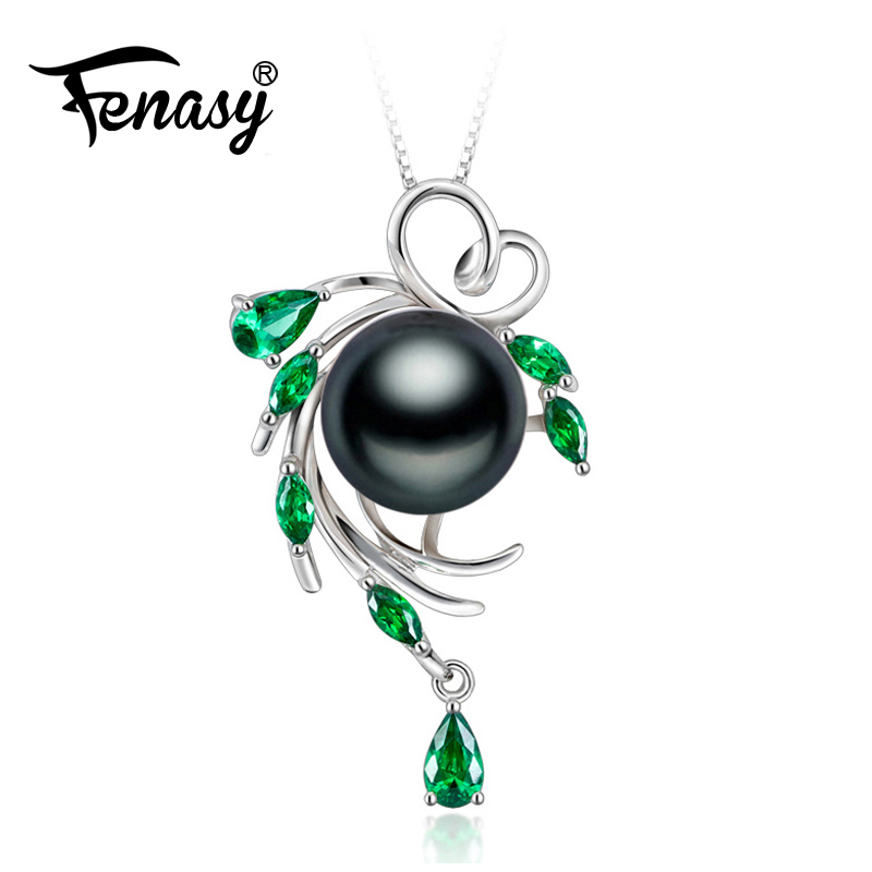 FENASY 925 sterling silver green flower necklace,pearl jewelry Bohemian necklace,Pearl pendant necklace for women Luxury StyleFENASY 925 sterling silver green flower necklace,pearl jewelry Bohemian necklace,Pearl pendant necklace for women Luxury Style