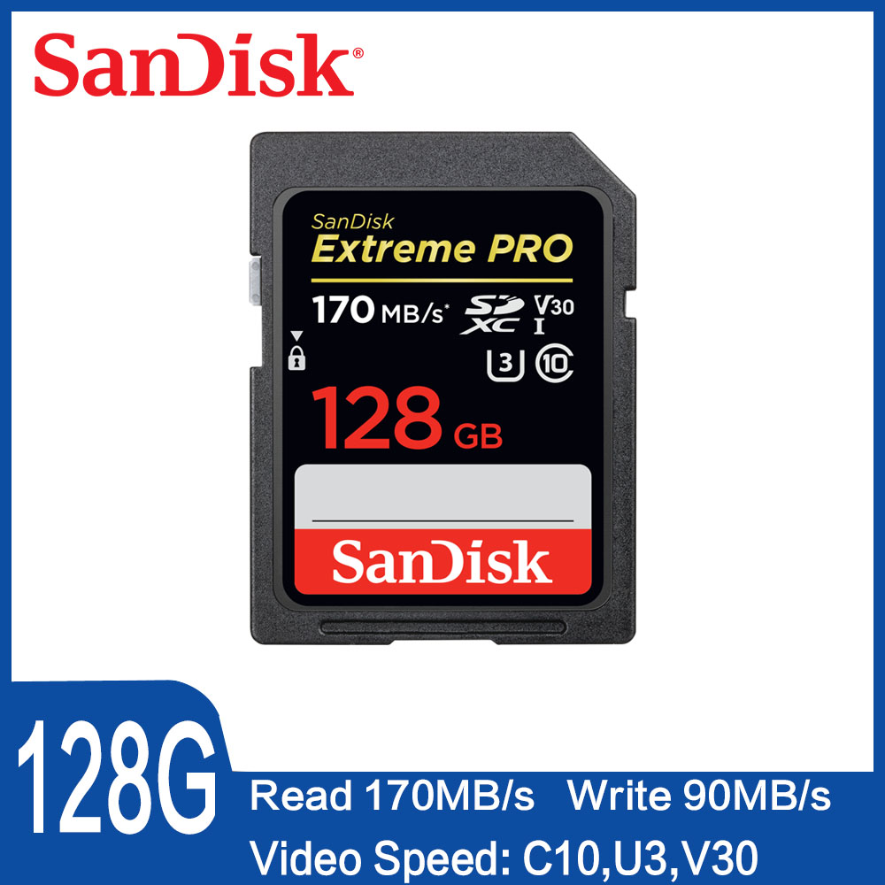 SanDisk 32GB Extreme PRO SD Card 64GB  Memory Card 128GB Sdcard 256GB Class 10 UHS-I High Speed 95MB/s V30 DSLR Sd 32