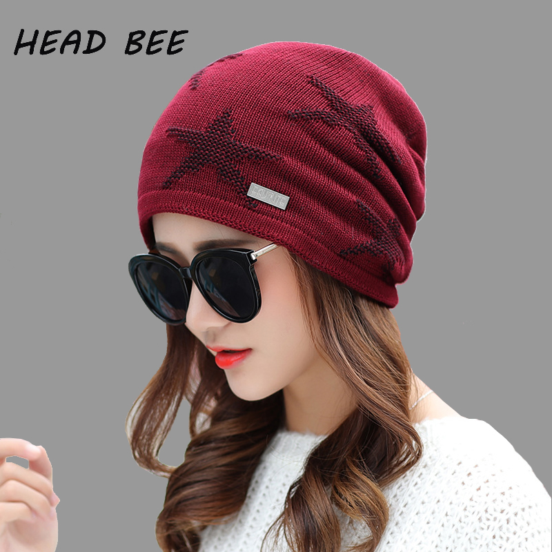 [HEAD BEE] Brand Beanies Hat Print Stars Knitted Hat Cotton Lady Warm 2017 Winter Cap Women Bonnet Hat Skullies