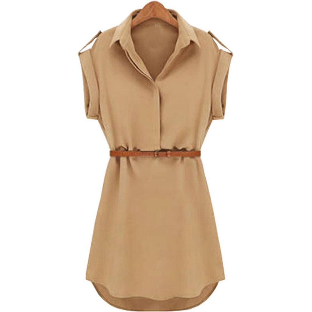 HTB1ulc7cECF3KVjSZJnq6znHFXa0 Women Casual Summer Shirt Dress Summer Dress 2019 Loose Short Sleeve Dress With Belt Turn Down Collar Autumn Dress Vestidos #20