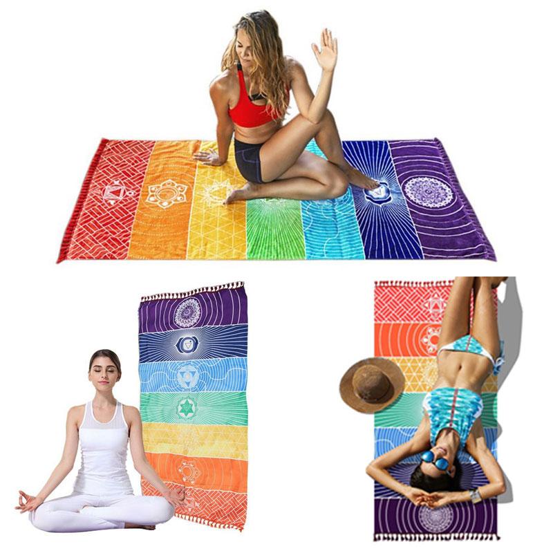 Dropship! Single Rainbow Chakra Tapestry Towel Carpet Mandala Boho Stripes Travel Yoga Mat Outdoor Mats 150x70cm/100x45cm 12
