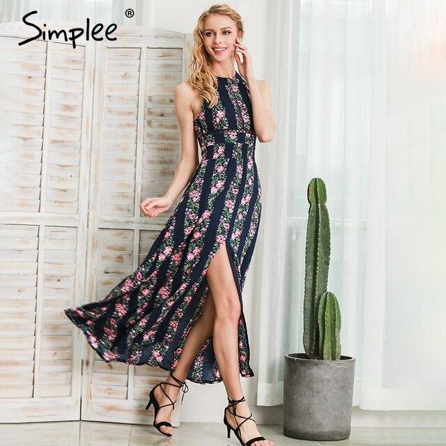 Simplee Apparel новый сексуальный рукавов цветочный принт долго dress выдалбливают спинки летние платья Высокой талии макси dress vestidos