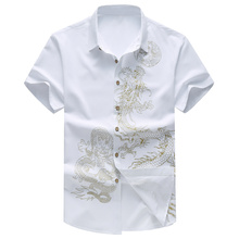 Asian size M-7XL Dress shirts mens clothing Fashion Dragon Flower casual shirt man Floral Short sleeves 2019 Summer