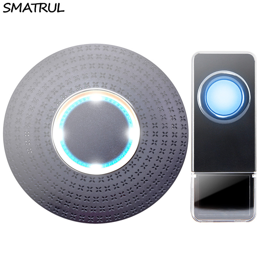 SMATRUL New Waterproof Wireless Doorbell EU Plug 300M Remote smart Door Bell Chime ring  1 2 button 1 2 3 receiver no battery Deaf Gorgeous lighting black