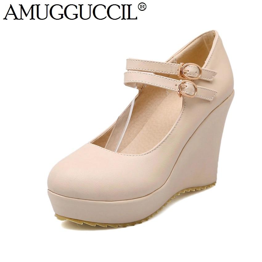 ФОТО Wholesales!Plus Big Size 34-43 Black White Purple Apricot Buckle Casual Sweet Girls Wedge Shoes Lady Women Pumps D1167