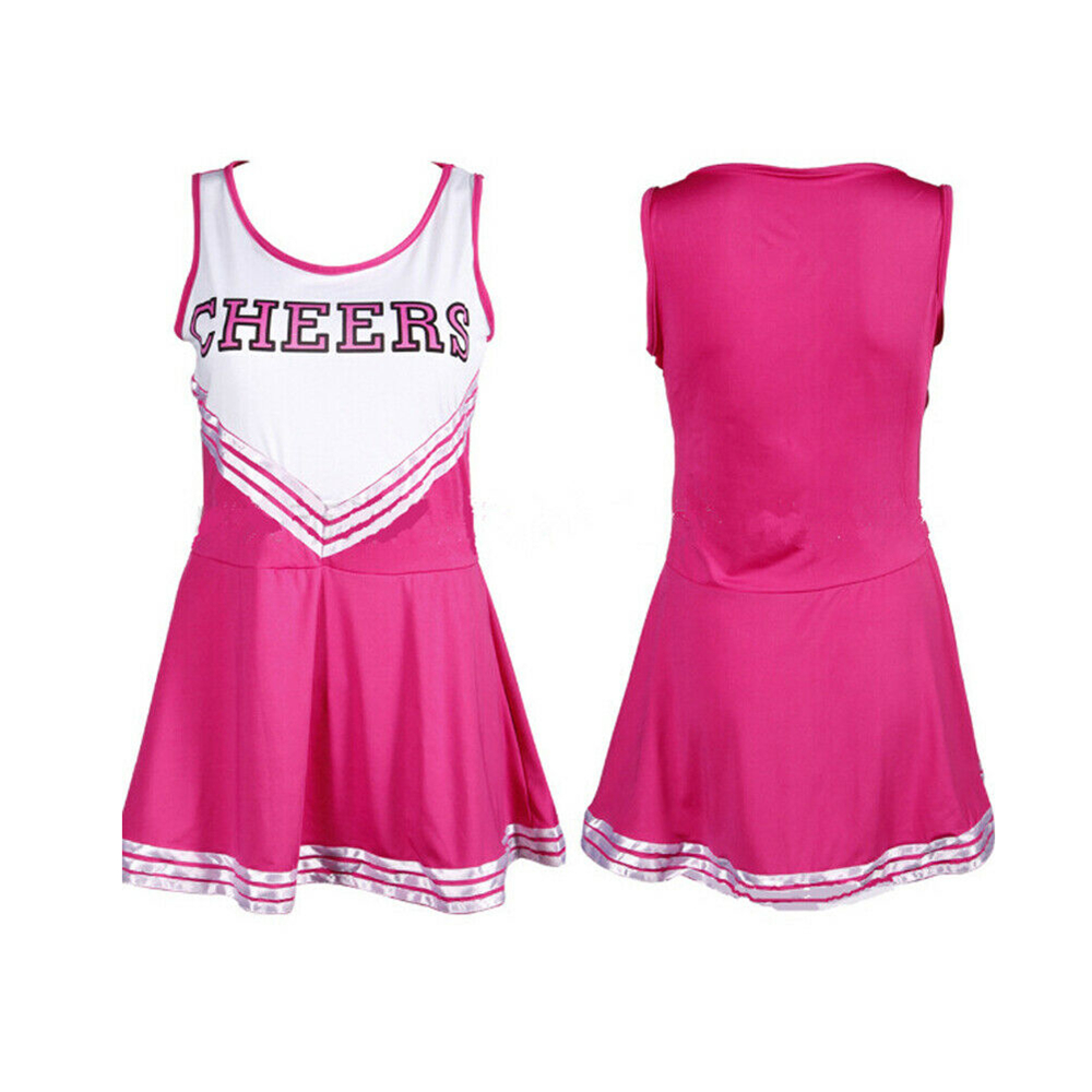 Image 5 - 2019 New Sexy High School Cheerleader Costume Cheer Girls Uniform Party Outfit  Pompoms summer dress-in Dresses from Women's Clothing