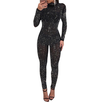 NEW Sexy Bodysuit Crystal Appliques Fashion Women Jumpsuit Long Sleeve Transparent Overalls Club Bodycon Playsuit Rompers