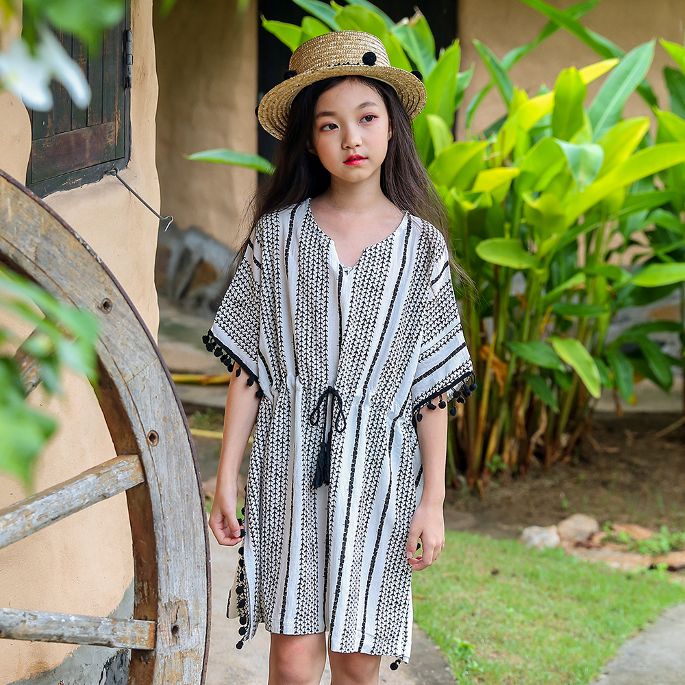 2018 Summer Girls Bohemia Vacation Beach Dress Holiday Clothes Teenage Big Kids Clothing Age 89 10 11 12 13 14 15 16 Years Old bohemia teenage girls dress summer 7 9 11 years costumes spring children clothing kids clothes girls party frocks designs hb3028